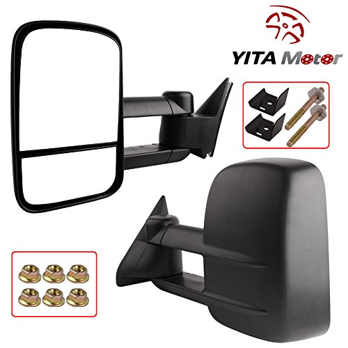 YITAMOTOR 15764760 for 88-98 Chevy GMC Suburban C/K1500 2500 3500 Power Tow Telescoping Towing Mirrors Pair Set RH&LH (98 Chevy 1500 Tow Mirrors compare prices)