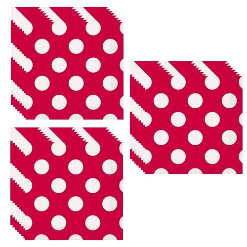 Red Polka Dot Beverage Napkins - 48 Pieces