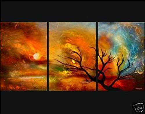 JoJoil Hand-painted Oil Painting Wood Framed Beautiful Sunset Glow Wall Decor Home Decoration Modern Landscape Paintings on Canvas 3pcs Ready to Hang for Living Room (Sunset Oil Painting compare prices)