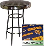 New Chrome Finish Metal Round Bar Table with Glass Table Top & Chicago Bears NFL Football Theme