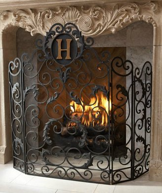 Monogrammed Curved Old World Iron Fireplace Screen