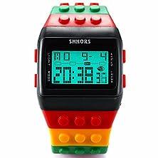 buy Mix&Rock Black Red Sport Colorful Assemble Brick Lego Style Led Digital Boy Wrist Watch