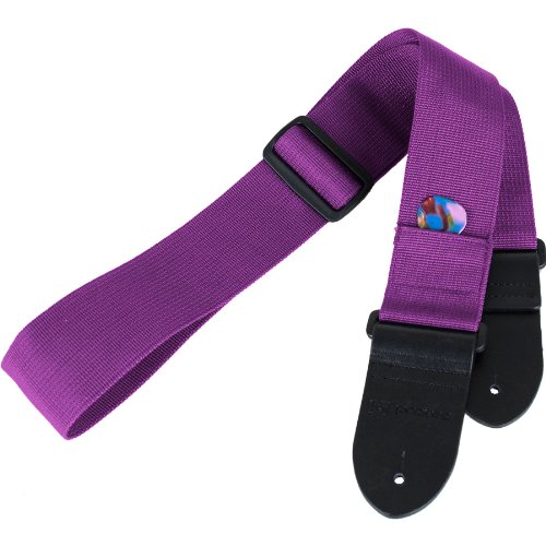 Protec Guitar Strap With Leather Ends And Pick Pocket (Purple)
