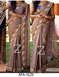 Kaavi Fab Women's Silk Georgette Brown Gray Designer Saree(KKFA-3125-Brown Gray)