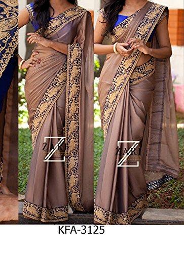 Kaavi Fab Women's Silk Georgette Brown Gray Designer Saree(KKFA-3125-Brown Gray)