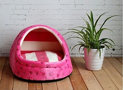 1 Pcs Remarkable Modern Pet Half Covered Bed Size S Cat Pad Rug Indoor Kennel Soft Fabric Color Type Rose Pink