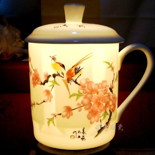 Ufingo-Jingdezhen Hand Painted Peach Blossom And Bird Bone China Tea Cup With Lid
