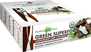 Amazing Grass Whole Food Nutrition Bar, Chocolate Chip Coconut, Box of 12 bars, 2.1 Ounces