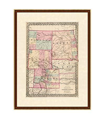 Antique Map of Colorado, Wyoming, Dakota, Montana, 1877