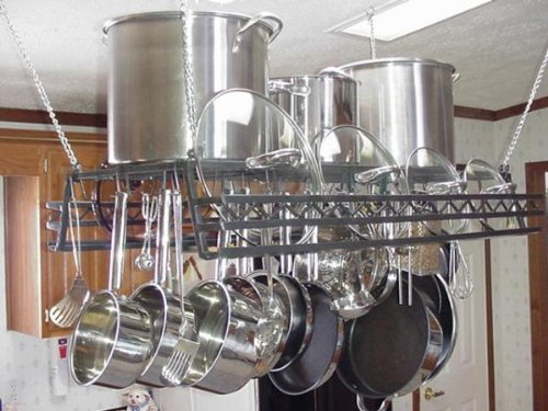 Cheap Hanging pot & lid Rack w Western Lid Holder Rail (hw)
