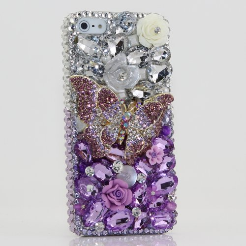 Great Sale iphone 5 5S Luxury 3D Swarovski Crystal Diamond Butterfly Silver faded to Purple Design Bling Case Cover (100% Handcrafted by BlingAngels)