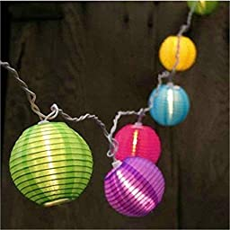 Chinese Lanterns, Mini Nylon Globes String Lights. Plug-in Expandable up to 162Ft / 150 Lights. Multi Color, Set of 10 Bulbs (10.86Ft.)