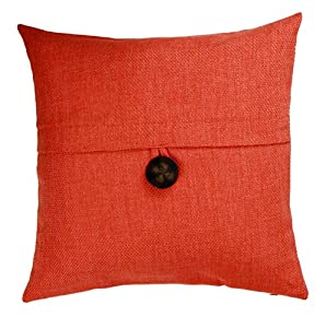 Throw Pillows With Big Buttons : Amazon.com - Loft Collection Bold Button Decorative Pillow Replacement Cover, Orange