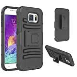 S6 Case, Galaxy S6 Case, VAKOO® [Heavy Duty] Belt Clip Case Ultra Protection Armor Cover Shockproof Drop Proof Dual Layer Rugged Soft Silicone Holster Pouch Case with Kickstand and Locking Belt Swivel Clip for Samsung Galaxy S6 SVI BLACK