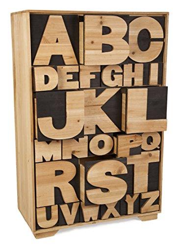 Alphabet, Kommode mit Schubladen, Holz