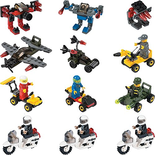 12 Mini Building Block Vehicle Sets Police Motorcycle Army Planes Army Jeep Character Vehicle Cars Robots Party Favor Stocking Stuffer (Ninja Turtle Barbie compare prices)