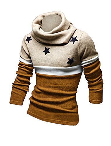 Men Turtle Neck Stars Applique Color Block Knit Shirt Coffee L