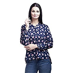 Mallory Winston Blue Floral Printed Women's Tops (Small)