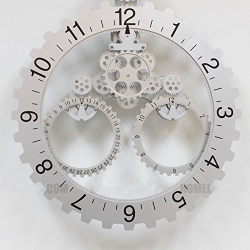 foxtop modern contemporary mechanical gear wall clock with