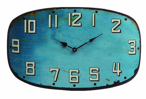 Creative Co-Op Metal Clock, Turquoise