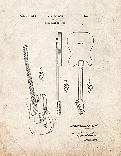 """Clarence Fender Electric Guitar Patent Art Print Old Look Poster (8.5"""" X 11"""")"""