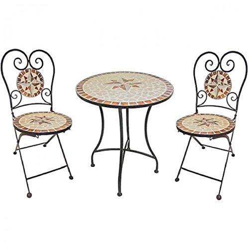 Mediterranes-3tlg-Balkonset-Mosaik-AMARILLO-Sitzgruppe-Metall-Stuhl-Tisch-rund-Gartentisch