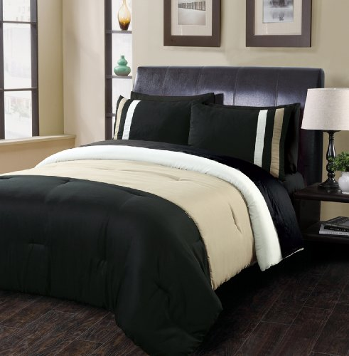 Beverly Hills Polo Club Tri Panel 3-Piece Full/Queen Comforter Set, Mocha