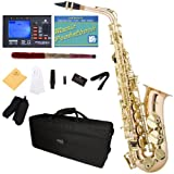 Mendini by Cecilio MAS-30L+92D+PB Rose Gold Brass E Flat Intermediate to Advanced Alto Saxophone with Tuner, Case, Mouthpiece, 10 Reeds and More