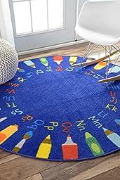 Contemporary Rainbow Alphabet Wheel Kids Area Rugs, 5 Feet Diameter (5\' Round)
