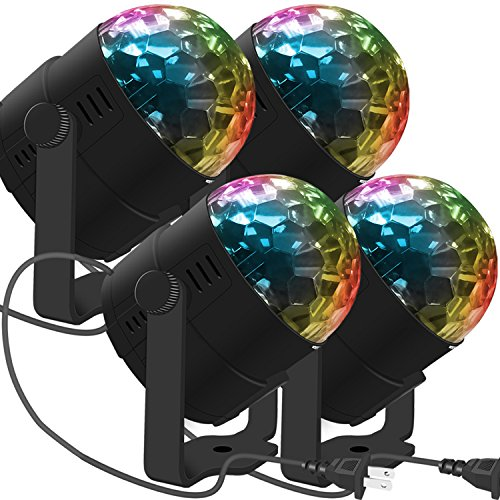 LED Stage Party Lighting, Costech 7 Color Changing Sound Active 3W RGB Auto Rotating Mini Crystal LED Dream Magic Ball for Disco DJ, Show, Xmas KTV, Wedding, Club Pub, Theater(4 Pack)
