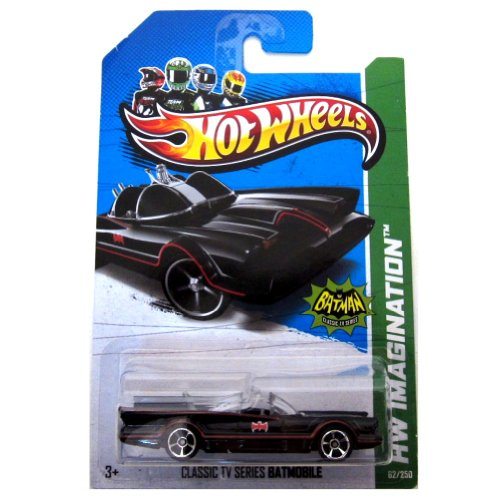 "Hot Wheels - Classic TV Series BATMOBILE (Black w/Red thin Stripes & ""Red Batman Logo"") - HW Imagination 2013 - 62/250 [Scale 1:64]"