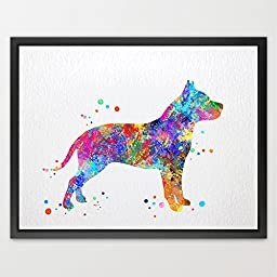 Dignovel Studios 8X10 Pitbull Dog Watercolor Print Wedding Gift Fine Art Print Children\'s Wall Art Wall Decor Art Home Decor Wall Hanging N135