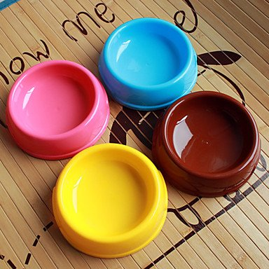 Zcl Circle Shape Plastic Pet Food Bowl For Dogs Cats (Assorted Color,15 X 15 X 4Cm) , Blue