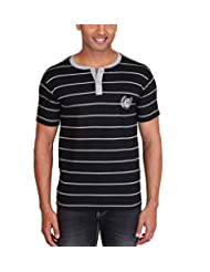 Max Exports Men's Cotton Striped Henley Tshirt