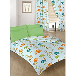 Childrens Double Bed Zoo Print Duvet Cover Set. Colour: Light Blue with Colourful Animal Print Design. Size: 200cm x 200cm