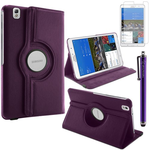 LK Luxury 360 Rotating Magnetic Smart PU Leather Case Cover For Samsung Galaxy Tab Pro 8.4 T320 (Wake & Sleep Function) & Free Screen Protector (Purple)