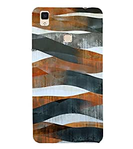 BROWN AND BLACK ARTISTIC OVERLAPPING WAVES PATTERN 3D Hard Polycarbonate Designer Back Case Cover for vivo V3Max