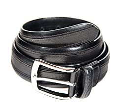 Quero Men's Buff Aniline Border Formal Belt (4009_Black_Small)