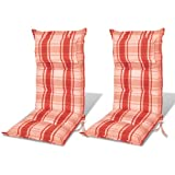 2pcs Garden chair cushion red orange 8cm thick