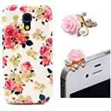 Vandot 2 in1 Zubeh�r Set Wei� Silikon Schutzh�lle Handyh�lle f�r Smart Phone Samsung Galaxy S4 Mini i9190 i9192 Schale Tasche Blume Case Kamelien H�lle Crystal Handy Cover Etui + Rosa 3.5mm Anti Dust Plug Flower Rhinestone Perle Staubschutz St�psel - Pink Hell Rosa Blume Mobile Phone Accessory Romantic Romantik Rose Pfingstrose Diamant Strass