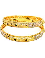 CZ AMERICAN DIAMOND MULTI COLOR GOLD PLATED BANGLES SET FOR WOMEN SIZE 2.6