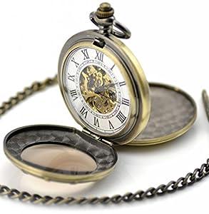 Infinite U Alta calidad Rueda Lupa Hueco Esqueleto Acero Doble tapas Reloj de bolsillo Mecánico por Infinite U