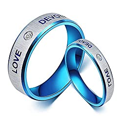 Couple rings for love jwelleries for women finger rings for girls 2 piece couple bandALRG0233BL