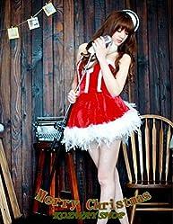 【Upwing】サンタコスチューム ワンピース裾の羽使いがおしゃれでゴージャスなクリスマスコスプレ衣装 イベント用に フリーサイズ X\'mas Christmas santa costume cosplay 赤色 羽 フリフリ ゴージャス