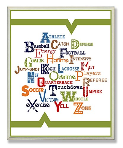 The Kids Room by Stupell ABC with Sports Word Typography Rectangle Wall Plaque