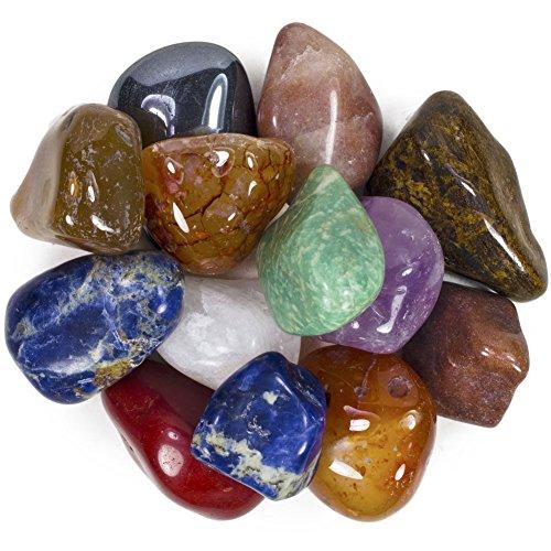2 Pounds Brazilian Tumbled Polished Natural Stones Assorted Mix - Extra Large Size - 1.5