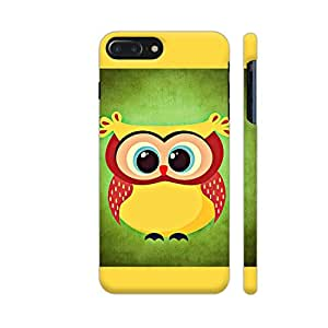 Colorpur Colorful Yellow Owl Bird On Green Designer Mobile Phone Case Back Cover For Apple iPhone 7 plus | Artist: WonderfulDreamPicture