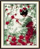 Bricolage numérique toile peinture à l'huile de décoration en nombre Kits de fée de fleur 16 * 20 cm....