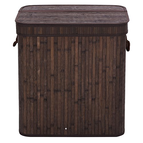 SONGMICS Folding Laundry Basket With Lid Bamboo Hampers Dirty Clothes Storage Rectangular Dark Brown ULCB63B (Laundry Large Basket compare prices)