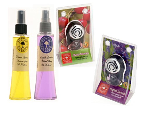 Aromatree Air Fresheners (Citrus Lemon 75 ml, English Lavender 75 ml, Cherry Blossom 10 ml, English Lavender 10 ml) PACK OF 4